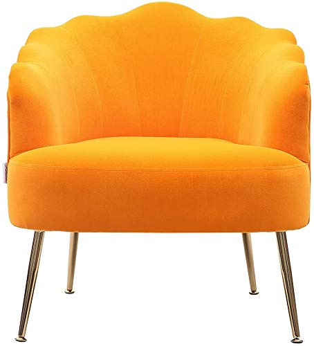 INMOZATA Shell Accent Chair in Mango Orange Armchair Stylish Velvet Fabric Upholstered Tub Chair for Dining Living Room Bedroom Lounge