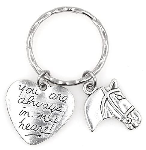 You are Always in My Heart Remembrance Pet Memorial Sympathy Forever My Friend Gift in Memory Missing You Horseback Riding Sport Compete Equitation Equine Horse Equestrian Keychain 114B