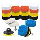 Huante Kit de 22 almohadillas de pulido para taladro de espuma para coche, incluye esponjas de detalles (7,6 cm) para tu vehículo, juego de encerado y pulidor.