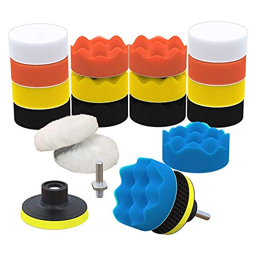 Heritan Car Foam Drill Polishing Pad Kit 22 Pack, Includes Detailing Sponges (3Inch) for Your Vehicle - Waxing and Polisher Set