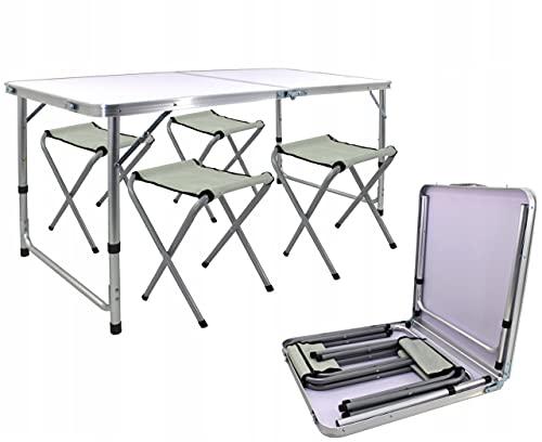 ADGO Klapptisch Tischset Tourist Tisch + 4 Stühle und EIN Koffer 120 cm Camping Grill Picknick Wasserdichtes Licht