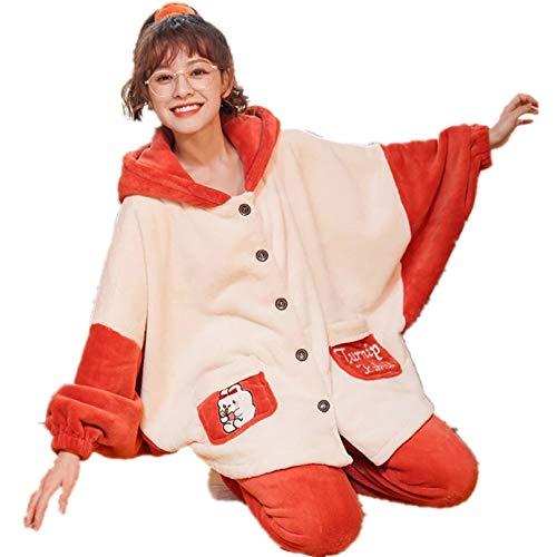 FLORVEY Pijama Bonita Ropa de Dormir de Zanahoria para Mujer, Conjunto de Pijama, Pijamas con Apariencia de Batman, Pijamas de salón, Pijamas de Franela de Invierno para Mujer, Ropa de hogar cálida