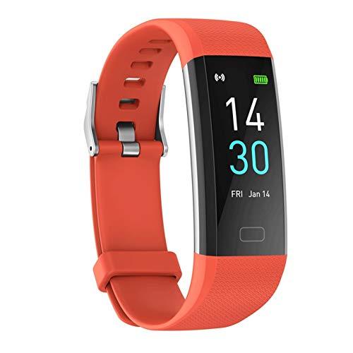 CXSD Pulsera inteligente Bluetooth 5.0 IP68 termómetro deportivo inteligente pulsera monitor fitness Tracker pulsera hombres y mujeres (color naranja)