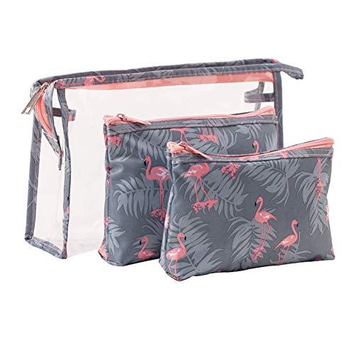 3Pcs Cosmetic Pouch Set Trasparente Sacchetto per il trucco Sacchetto per il lavaggio PVC Impermeabile Cosmetic Pouch Custodia da viaggio con stampa Flamingo