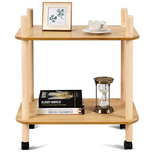 COSTWAY Beistelltisch Sofatisch Nachttisch Telefontisch Anstelltisch Konsolentisch Kaffeetisch Balkontisch Wohnzimmertisch Flurtisch auf Rollen Holz Natur (Modell 3(60x40x68))