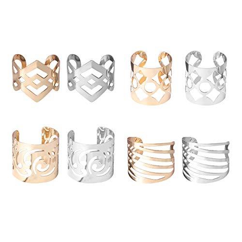 Non/Brand Mousyee Anelli per Tovaglioli, 8 Pezzi Portatovaglioli Creativi a 2 Ccolori 4 Modelli Portatovaglioli in Metallo scavati per Decorazioni da tavola per Feste Nuziali (Oro, Argento)