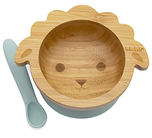Koko Kids Lamb Bamboo Suction Bowl and Silicone Spoon - Baby and Toddler Feeding Bowl with Strong Suction Ring (Mint)
