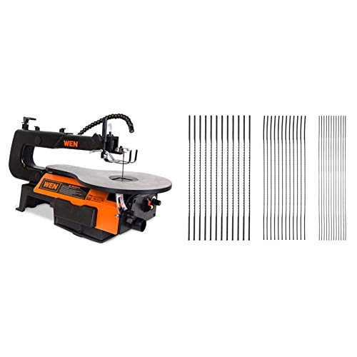 WEN 3921 16-inch Two-Direction Variable Speed Scroll Saw & SKIL 80182 Plain End Scroll Saw Blade Set, 36 Piece
