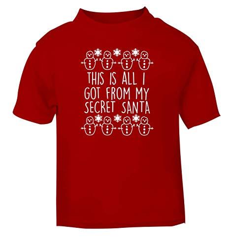 Flox Creative T-shirt pour bébé Inscription This is All I Got from My Secret Santa Noir - Rouge - 2 mois