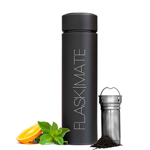Multi-Use Travel Mug with Extra-Long Tea Infuser - Hot & Cold Brew Coffee Tumbler - Insulated Fruit Infused Water Bottle - Double Wall Stainless Steel Thermos - 16.9 oz Leak Proof Flask
