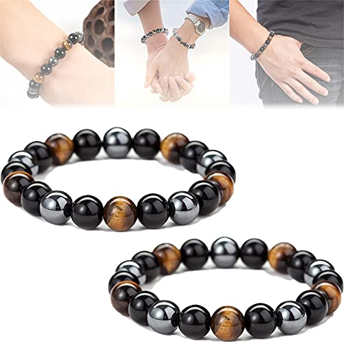 HHKX100822 Lymph Drainage Tiger Eye Triple Bracelet, Adjustable Weight Loss Black Stone Magnetic Therapy Bracelet - Anti-Swelling Tiger Eye Beads Bracelet, Bring Luck and Prosperity Unisex 2PCS 10mm