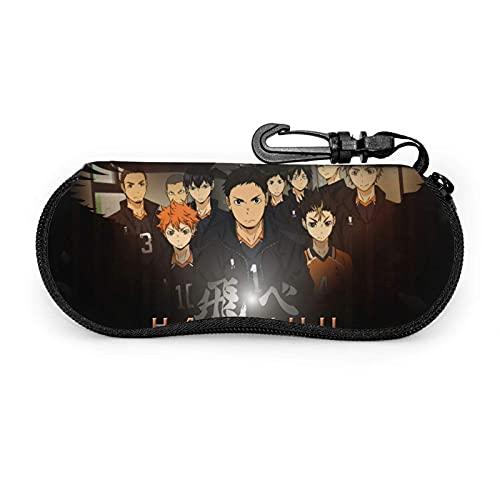 Anime Haikyuu - Funda para gafas de sol con cierre de cremallera portátil ultraligero con gancho de metal para colgar llaves de almacenamiento para gafas de seguridad para hombres y mujeres