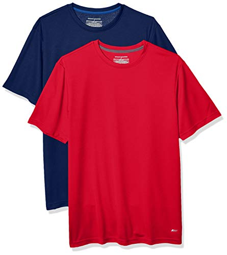 Amazon Essentials Men's 2-Pack Performance Tech T-Shirt, Navy/Red, XXL