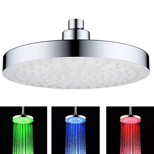 DAXGD Soffione doccia LED tondo, spray doccia superiore da 8 pollici, controllo della temperatura a 3 colori con flusso d\'acqua variabile alimentato, ABS cromato 8 pezzi LED