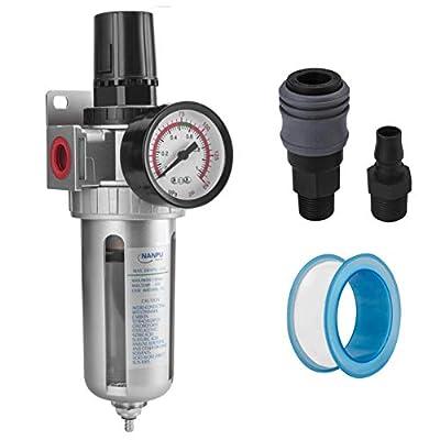 """NANPU 3/8"""" NPT Compressed Air Filter Regulator Combo, Air Filter Pressure Regulator Gauge Kit Water Separator w/Pressure Gauge, 150PSI by NANPU"""