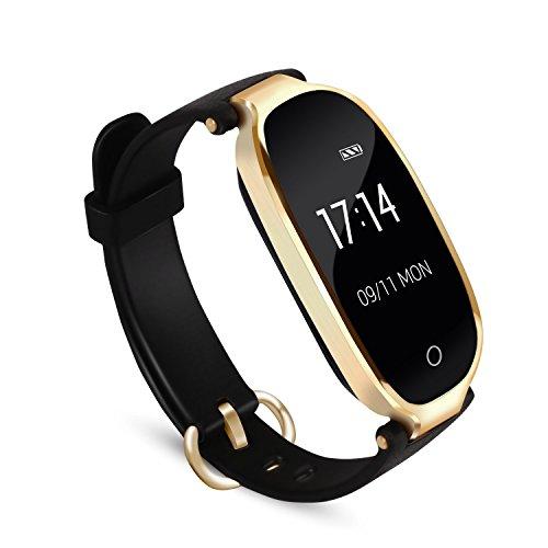 Pulsera Actividad Inteligente Mujer, AGPTEK SW03 Reloj Deportivo Impermeable con Bluetooth Podómetro Sedentarios, Monitor Ritmo Cardíaco Sueño para Android y IOS Teléfono móvil- Negro