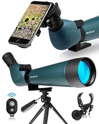 CREATIVE XP 2021 HD Spotting Scope with Tripod 20-60x80mm - BAK 4 Prism Spotting Scopes for Target Shooting Hunting Astronomy Bird Watching - 100% Waterproof IP67 Nitrogen Purged Shockproof