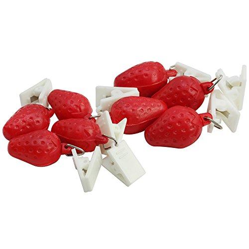 com-four® 8X Tischdeckenbeschwerer mit Klammern - Tischtuchgewichte im Früchte-Design, 18g (8 Stück - Erdbeere)