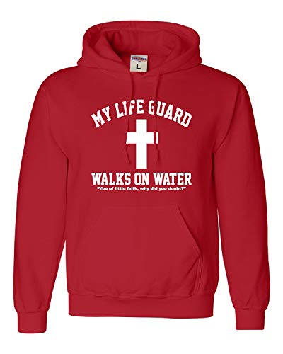 Go All Out Medium Red Adult My Life Guard Walks On Water Christian Easter Religious Facebook Hooded Sweatshirt...