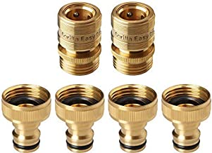 GORILLA EASY CONNECT Garden Hose Quick Connect Fittings. ¾ Inch GHT Solid Brass. 4 Male & 2 Female Connectors.