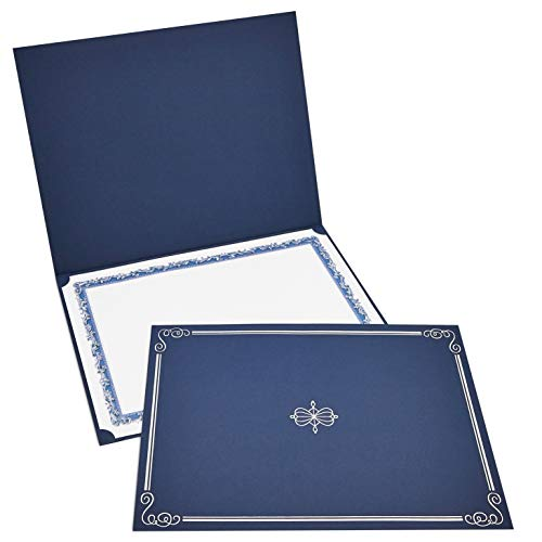 12-Pack Certificate Holder - Diploma Cover, Document Cover for Letter-Sized Award Certificates, Navy Blue, Silver Foil, 11.2 x 8.8 Inches