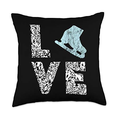 Cool Ice Skate Dancing Figure Skating Gifts Shoes Figure Ice Skater Rink Skate Throw Pillow, 18x18, Multicolor