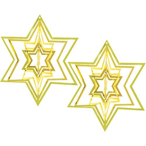 com-four® 2X Weihnachtsstern-Anhänger 3D-Stern für den Weihnachtsbaum - Christbaumschmuck aus Metall - Verzierung, Weihnachtsdeko (Set1 - Metall/Stern goldfarben)
