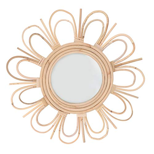 YARNOW Rattan Frame Wall Mirror Wall Mirror Khaki Rattan Decorativo Espejo de Madera Wall Round Mirror Collection for Home Cuarto de Baño Decoración de La Pared 50X50cm