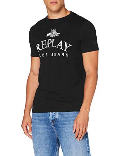 Replay Herren M3141 .000.23046P T-Shirt, 397 Off Black, XL