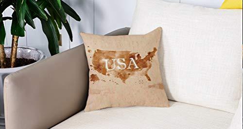 Luoquan Kissenbezüge Super Weich Home Dekoration,Americana, frühe amerikanische Retro-Karte des Landes Südwesten und Alaska Im,Kopfkissenbezug Pillowcase Kissen für Wohnzimmer Sofa Bed,45x45cm
