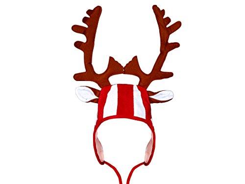 Alsino Weihnachtsmütze rot weiß mit Elchgeweih und Ohren wm-82