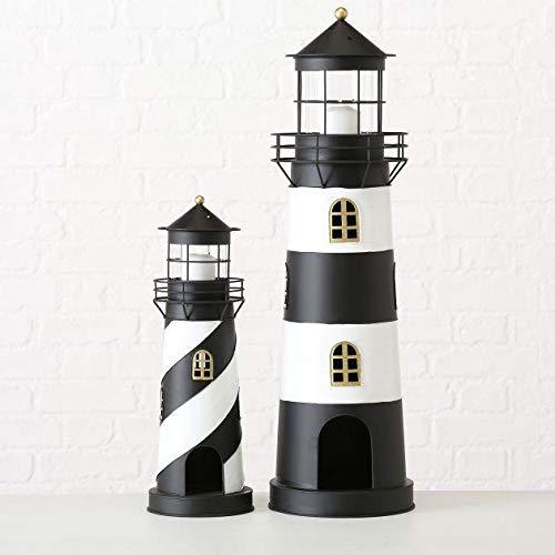 Laterne Faro Windlicht Leuchtturm H 46-73 cm schwarz weiß Metall 2er Set