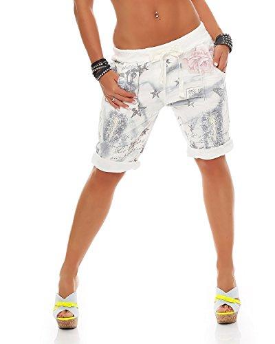 ZARMEXX Fashion Zarmexx Damen Bermuda Shorts Baggy Hose Boyfriend Freizeithose Kurze Hose mit Blumendruck Baumwolle One Size (grau)