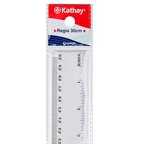 Kathay 86420200 Lineal aus Kunststoff, 30 cm, transparent, perfekt für die Schule