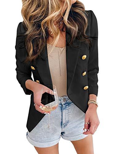 LookbookStore Women's Casual Solid Black Loose Buttons Work Office Blazer Long Jacket Suit Size XL
