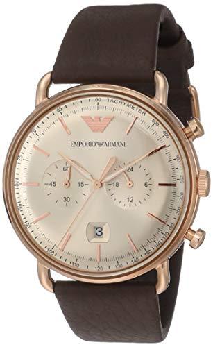Emporio Armani Herren Analog Quarz Uhr mit Leder Armband AR11106