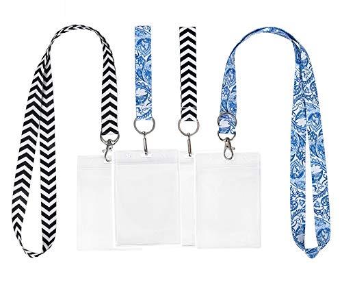 Ecohip Schlüsselband mit IDhalter für Damen, Namensschild, Clips, Handgelenk, Schlüsselanhänger, Armband Blue Floral & Black Chevron
