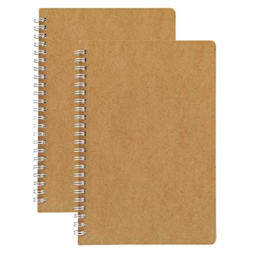 HULYTRAAT Dot Grid Spiral Notebooks, 5.5 x 8.25 Inches A5, Kraft, 80-Page 40-Sheet Journal 2-pack (NBD2)