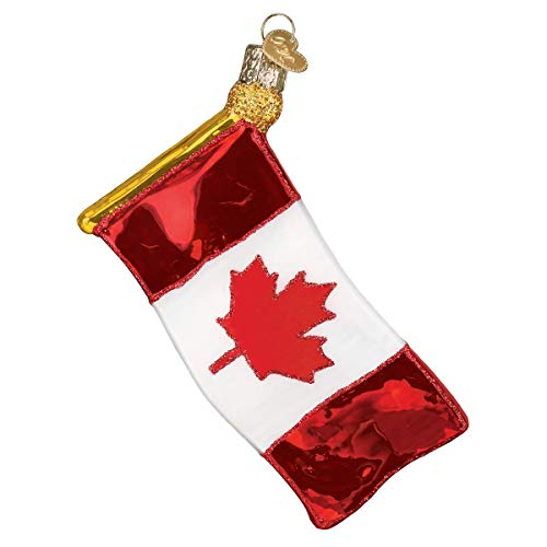 Old World Christmas Canadian Ornament, Red and White Flag
