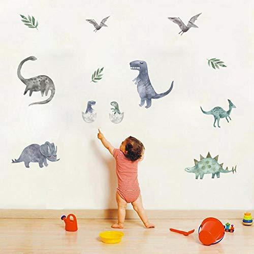 Wandtattoo Kinderzimmer Wandsticker Dinosaurier Aufkleber Weihnachten Wanddeko für Kinderzimmer Schlafzimmer 92 x 30 cm Enthält 9 Dinosaurier