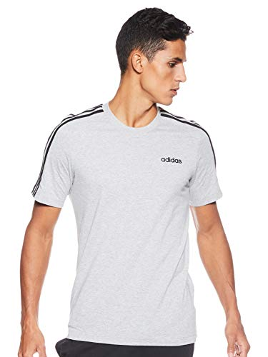 adidas E 3S tee Camiseta, Hombre, Gris (Medium Grey Heather/Black), M