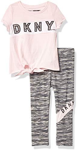 DKNY Baby-Mädchen Knit Top and Legging Kleinkind, Layette-Set, Vorne Krawatte mit Netzpasse, Kirschblüten, 12 Monate