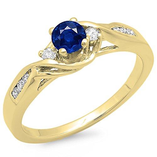 Dazzlingrock Collection Anillo de compromiso de oro de 14 quilates, zafiro azul redondo y diamante blanco, 3 piedras