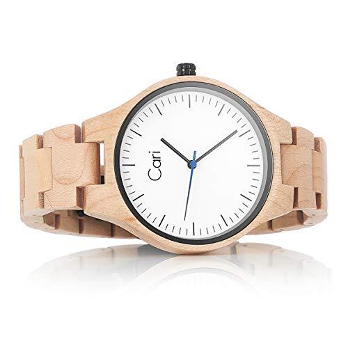 Cari Damen Herren Uhr Schweizer Quarzwerk mit Holz-Armband Holzuhr Marseille-011