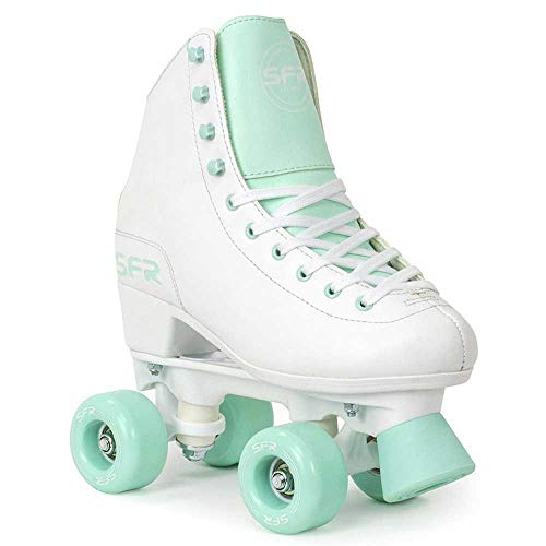 SFR Skates Figure Quad Skates Rollschuhe, Erwachsene, Unisex, Mehrfarbig (White/Green), 39,5