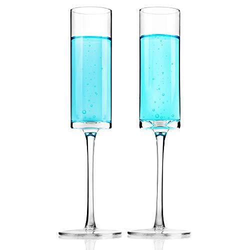 REAWOW Sektgläser Kristallglas Champagner-Gläser 150ml Bleifrei Champagner Flöten Perfekt für zu Hause Restaurants und Partys Packung mit 2 Stück