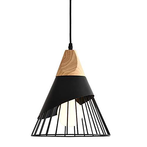 Lustre Suspension Lampe Le fer Bois Cage Créatif Cône Moderne Éclairage Noir IntéRieur Restaurant Salon Chambre Étude Entrance Luminaire Applique, black, ø25cm