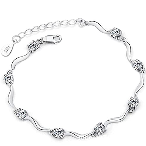QQWA Elegant Bamboo Charm Bracelet Silver Chain Bracelet,Adjustable Friendship Link Bracelet Jewelry for Women