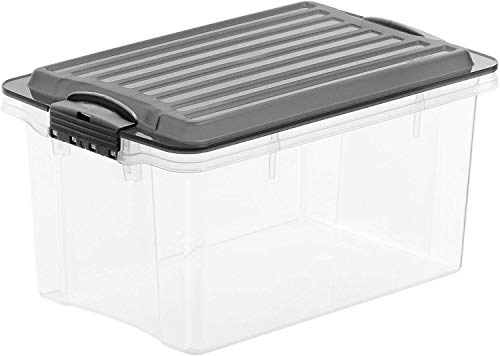 Rotho Compact Aufbewahrungsbox 4,5l mit Deckel, Kunststoff (PP) BPA-frei, grau/transparent, A5/45l (27,0 x 18,5 x 15,0 cm)