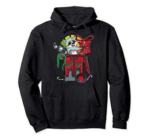Cartoon Waschbär Mülltonne Weihnachten Geschenk Tiermotiv Pullover Hoodie
